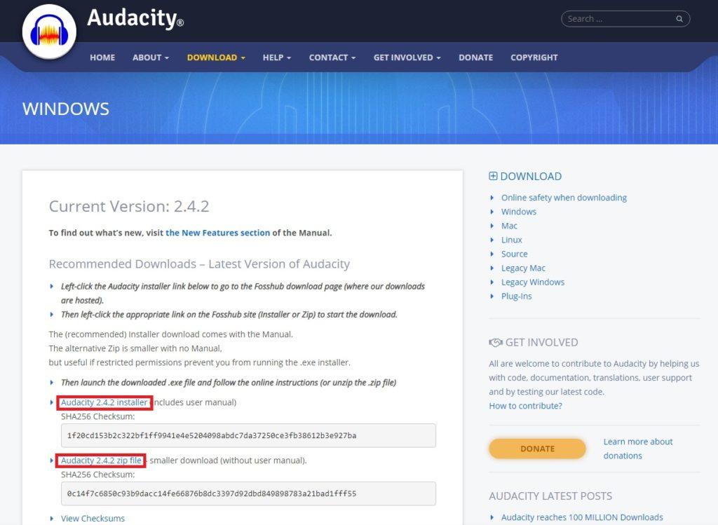 Windows版 Audacity ダウンロードページ